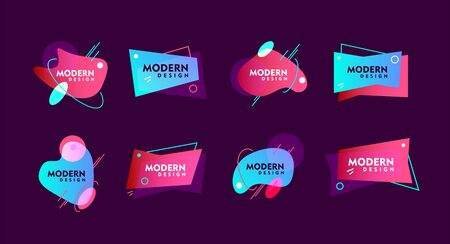 Modern design colorful abstract elements of different shapes on purple background flat vector illustration Foto de archivo - 139651928