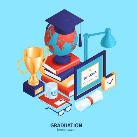 Isometric graduation diploma background composition with editable text and pile of various students belongings and objects vector illustration  イラスト・ベクター素材