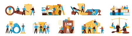 Law justice flat compositions set with trial jury defendant judge gavel balance criminal investigation jail vector illustration