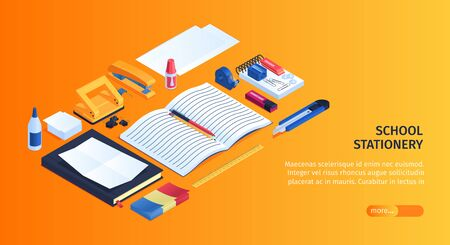 School stationery background with eraser copybook and glue isometric vector illustration