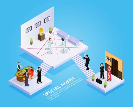 Special agent spy isometric composition with platforms stairs spy thriller elements and people with editable text vector illustration