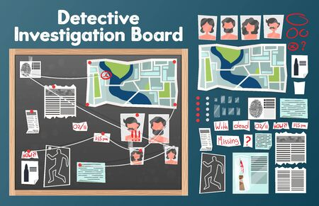 Detective board set with text and isolated images of pins photographs of suspects with newspaper clippings vector illustration