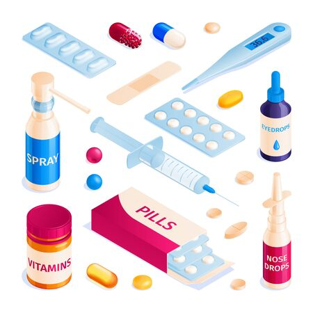 Isometric medicine pharmacy pills capsules blisters glass bottles and drops set of isolated medical products images