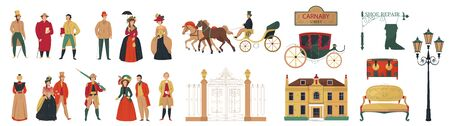 18th 19th century old town fashion set with isolated icons of furniture buildings and human characters