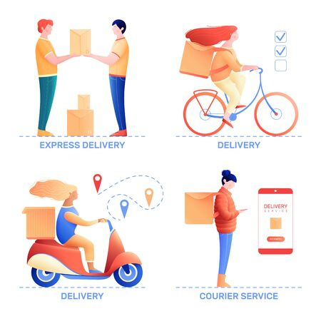 Courier service 2x2 design concept with people engaged in express delivery of products and goods 스톡 콘텐츠 - 139987166