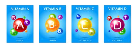 Multivitamins supplements 4 3d colorful realistic advertising posters set with essential vitamins blue Vector Illustration