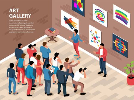 Isometric exhibition gallery envisage  with indoor composition wall with paintings 向量圖像