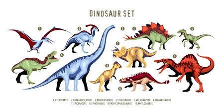 Dinosaur colorful ten characters of extinct predator of Jurassic period with designation isolated