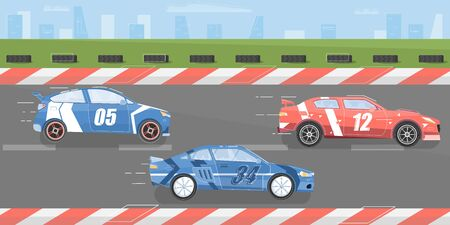 Car racing  with race track and cars flat