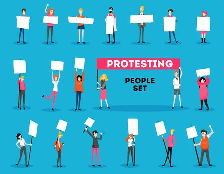 Protesting people activist set with text and isolated doodle style characters of young protesters with placards