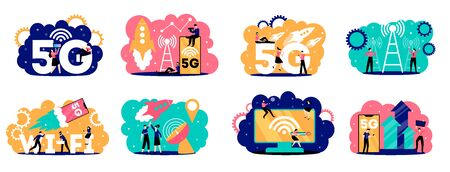 5g internet set of eight isolated compositions with human characters text and fast mobile connection pictographs
