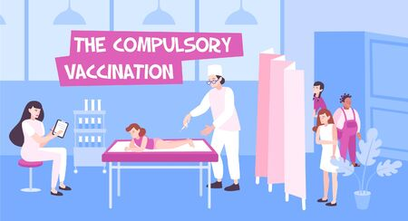 Vaccination flat composition with indoor scenery of clinics and doctors vaccinating children with queue and text