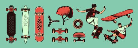 Skateboarding color hand drawn set with teens riding skateboard and different kinds of sport equipment isolated
