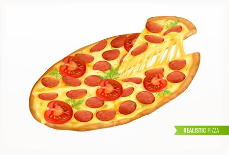 Fast food colored realistic design concept promoting delicious italian pizza with traditional ingredients cheese and tomato isolated