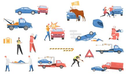 Car accident set with help symbols flat isolated