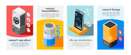 Four hi-tech sleeping isometric banner set with smart lamp speaker humidifier and sleep statistics descriptions vector illustration