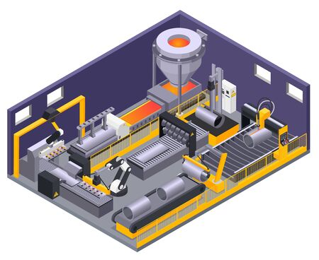 Isometric composition with automated machinery for metalworking 3d vector illustration 向量圖像