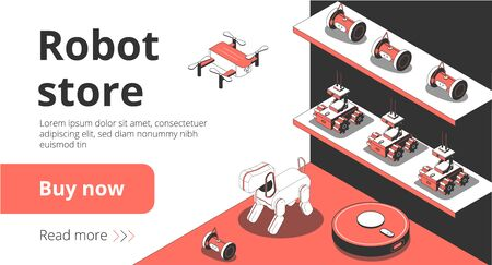 Online robot store isometric landing page with smart cleaning household devices artificial intelligent pet drone vector illustration