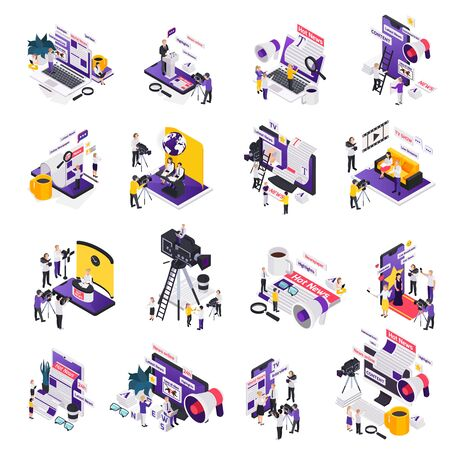 Journalistis reporters news media isometric icon set with hot online news content descriptions