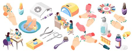 Hands with painted nails manicure kit lamp colorful palette salon beauty procedures 3d icons set isometric isolated vector illustration