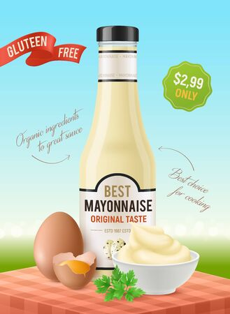 Realistic mayonnaise vertical ads poster with outdoor scenery table and eggs with plates and product package vector illustration