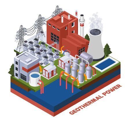 Composition isométrique de l'électricité avec centrale géothermique illustration vectorielle 3d Vecteurs