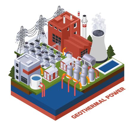 Electricity isometric composition with geothermal power station 3d vector illustration Illusztráció