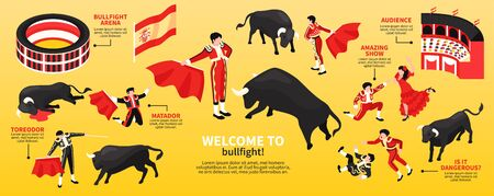 Isometric bullfight narrow composition with isolated images of fight arena toreador characters and bulls with text vector illustration