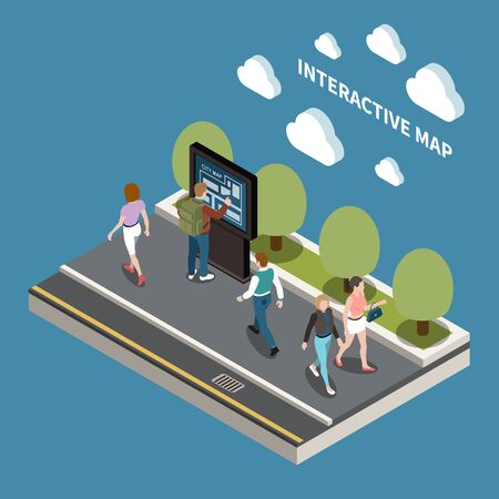 People and interfaces design concept with resident looking at interactive map of city   isometric vector illustration Ilustrace