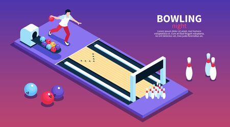 Bowling lounge night party entertainment idea isometric gradient background horizontal banner with player throwing ball vector illustration