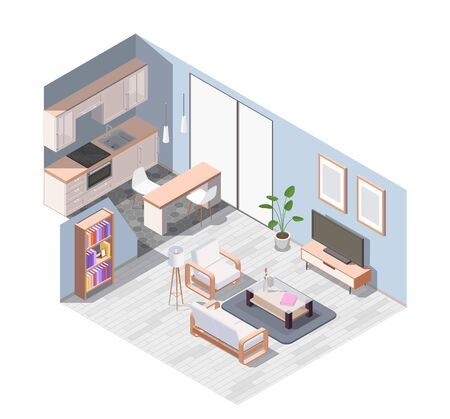 Isometric and colored interior furniture composition with equipped studio apartment with wooden furniture vector illustration
