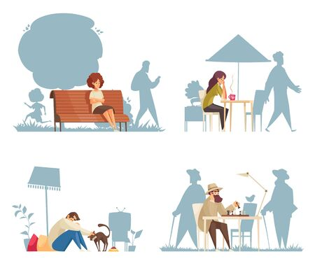 Cartoon compositions with lonely sad people sitting at cafe on bench playing chess stroking cats isolated vector illustration Illustration