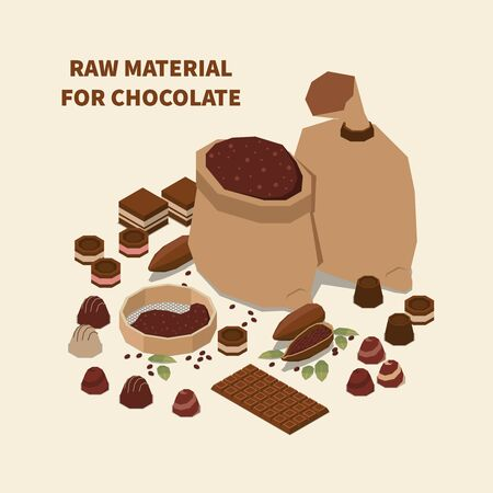 Chocolate isomeric background with cacao beans and raw materials for manufacturing sweet production vector illustration