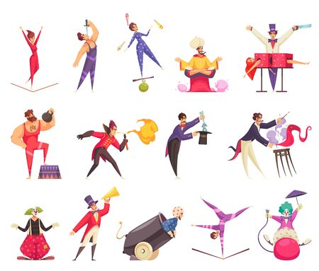 Circus artists cartoon icons set with clown magician juggler strongman acrobat isolated on white background vector illustration