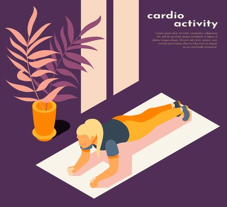 Cardio activity purple yellow isometric background composition with woman doing plank on fitness mat home vector illustration