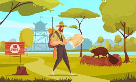 Man forest ranger walking in wood with gun and map cartoon vector illustration 向量圖像
