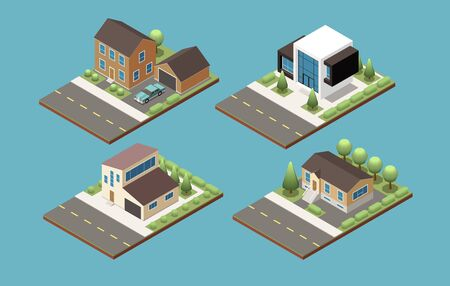 Set of four isometric compositions representing various project of suburban building and private cottage vector illustration