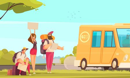 Cartoon background with friends hitchhiking and stopping bus on road vector illustration