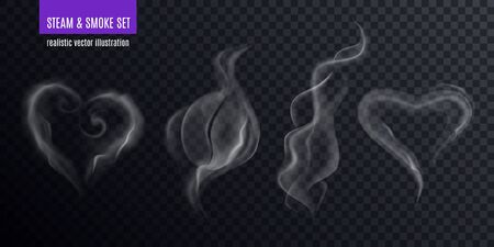 Steam smoke realistic set of four various vapour fume shapes on transparent background with text vector illustration Illustration