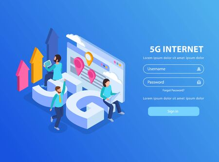 Isometric background with 5g internet icons human characters and log in form 3d vector illustration