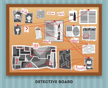 Detective board composition with text and rectangular wooden frame hanging on wall with pinned investigation materials vector illustration