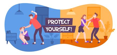 Self defence domestic violence flat composition with text and indoor views with scenes of family abuse vector illustration