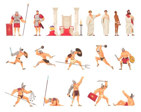 Ancient Rome icons set with gladiator fight flat isolated vector illustration Standard-Bild - 140560371