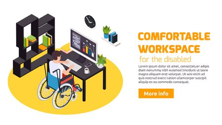 Home office for people with disabilities comfortable workspace with wheelchair accessible desk web landing page vector illustration