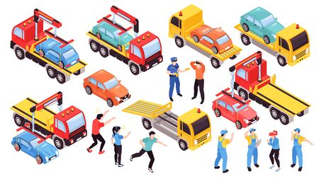 Isometric tow truck car vehicle transportation help road set with isolated people and images of lorry vector illustration Ilustración de vector
