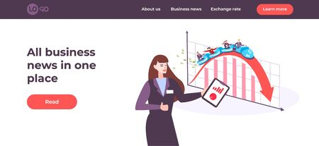 Business web page with flat images of graphs and show host with clickable links and buttons vector illustration 일러스트