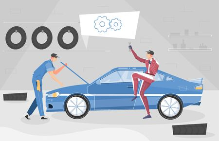 Car tuning background with sport car symbols flat vector illustration