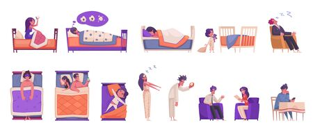 Sleep time icons set with bedtime dream and insomnia symbols flat isolated vector illustration