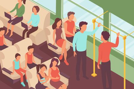 Public transport people isometric Composition with view of comfortable passenger car with seats and human characters vector illustration Çizim