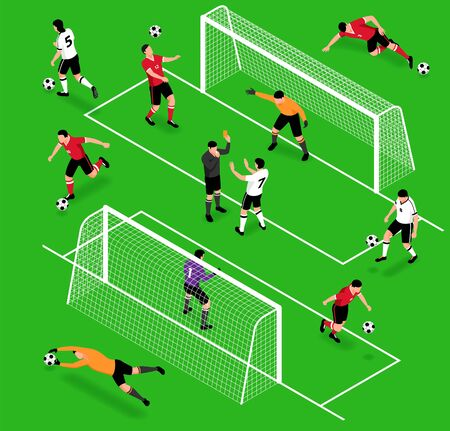 Isometric football soccer sport set with isolated human characters of footballers balls and gates with playground vector illustration